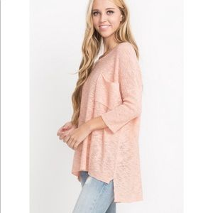 high low peach Pink light weight knit pullover